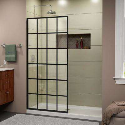 French Linea Toulon 34 in. x 72 in. Frameless Fixed Shower Door in Satin Black