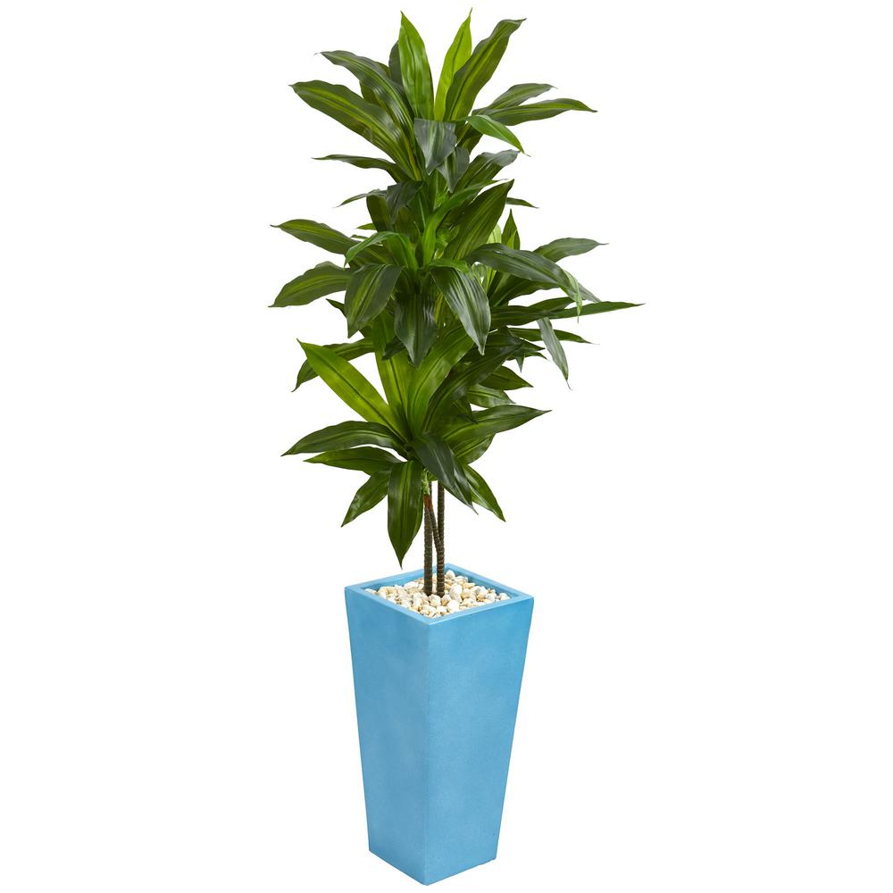 5 ft. Indoor Dracaena Artificial Plant in Turquoise Tower Vase