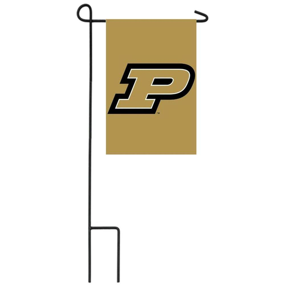 Team Sports America NCAA 12-1/2 in. x 18 in. Purdue 2-Sided Garden Flag with 3 ft. Metal Flag Stand