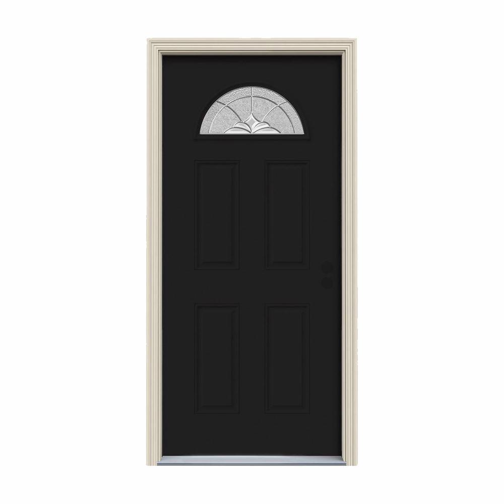 32 in. x 80 in. Fan Lite Langford Black w/White Interior Steel Prehung Left-Hand Inswing Front Door w/Brickmould