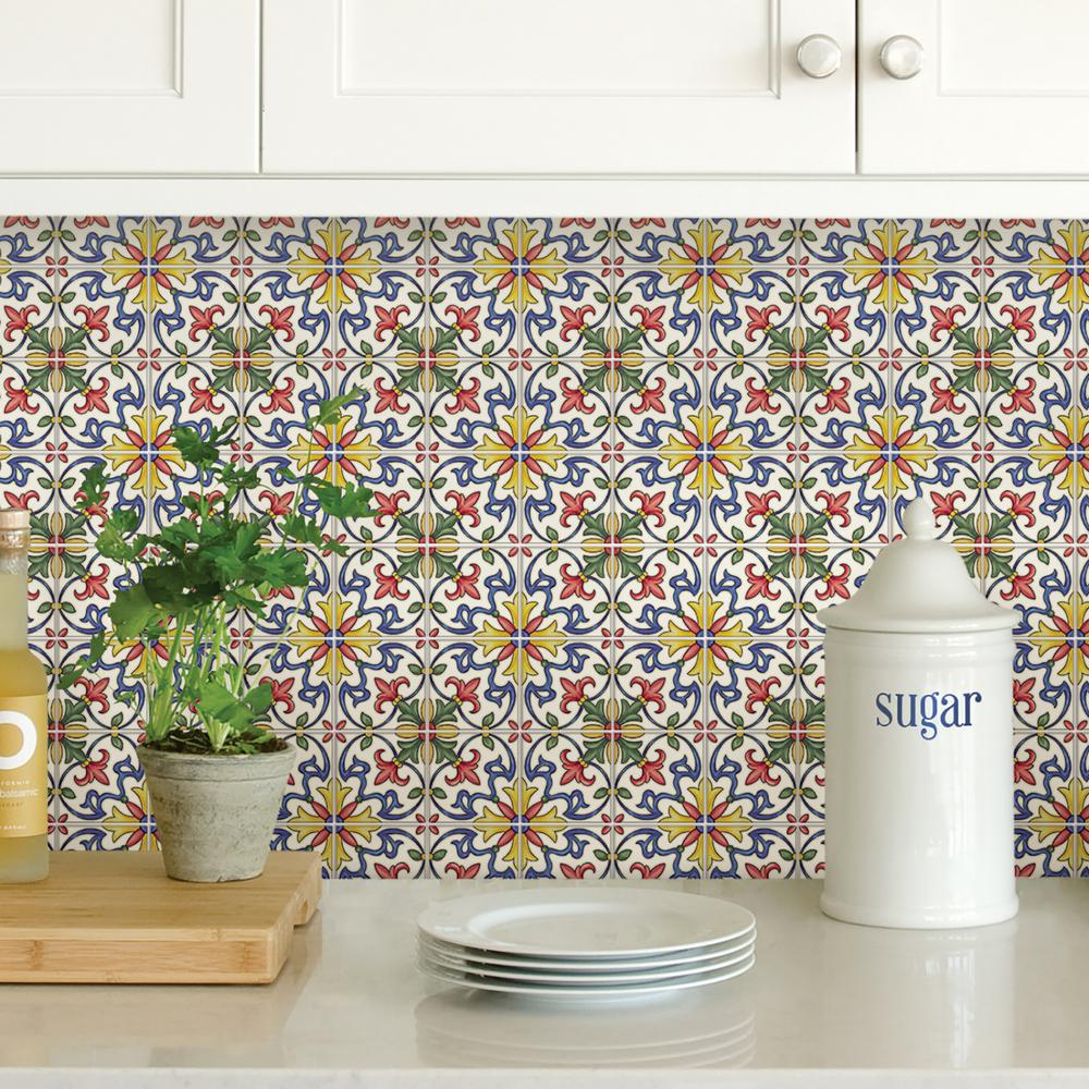 Peel And Stick Backsplash Tiles: Wall Pops Multi-Color Tuscan Tile Peel Stick Backsplash