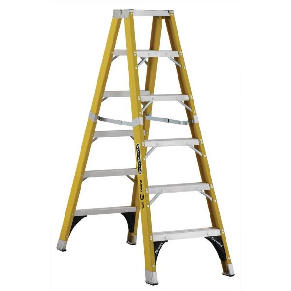 6 ft. Fiberglass Twin Step Ladder with 375 lbs. Load Capacity Type IAA Duty Rating