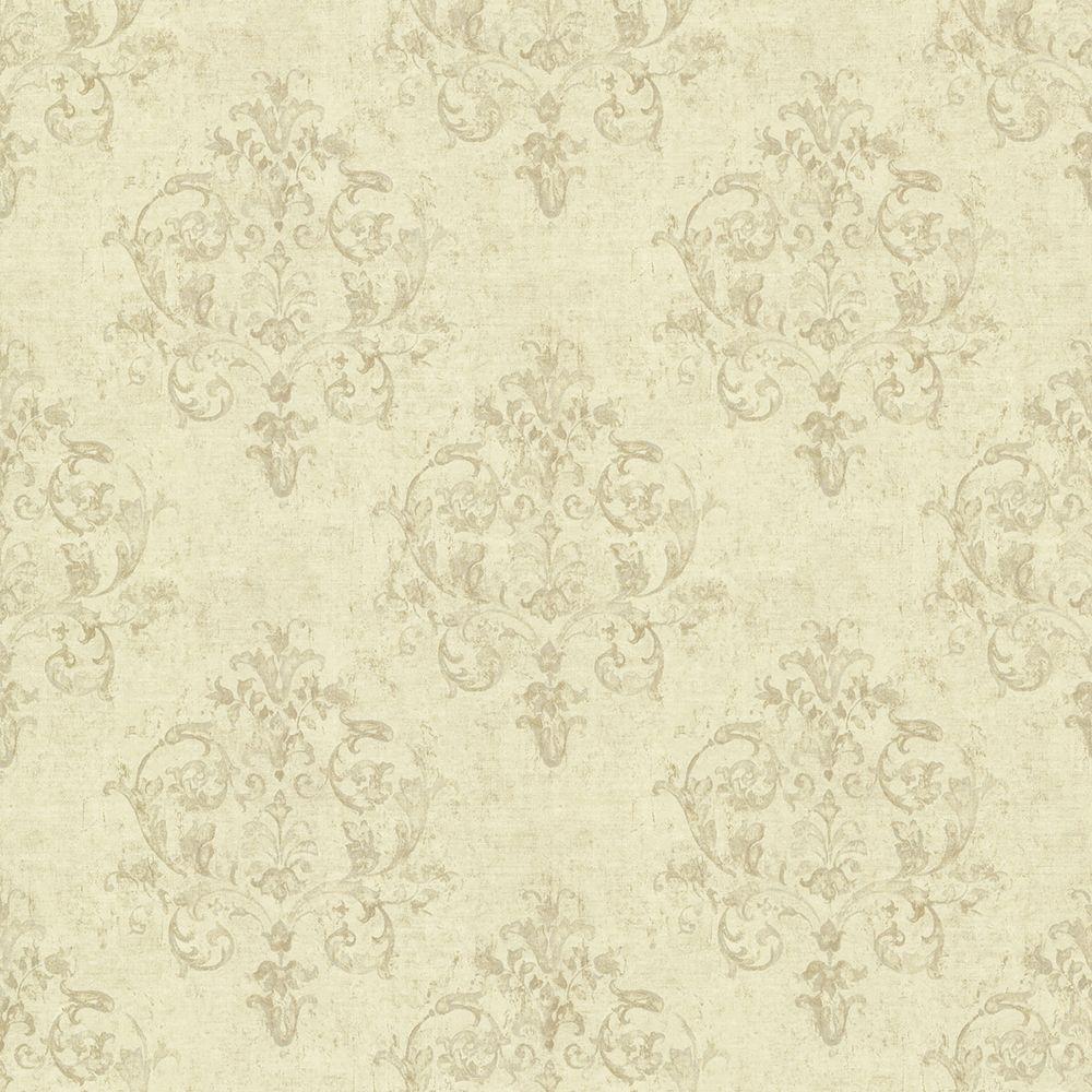 Chesapeake Arronsburg Wheat Damask Wallpaper, Brown