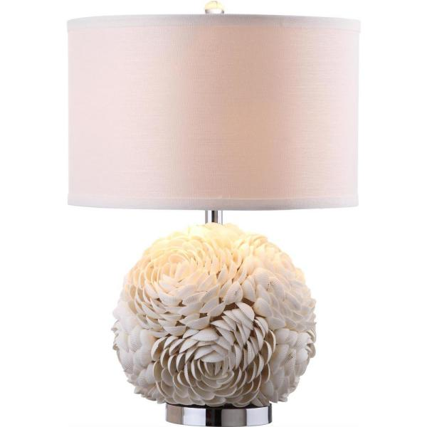 Safavieh Pauley 23 In White Flower Table Lamp With Off White Shade Lit4297a The Home Depot