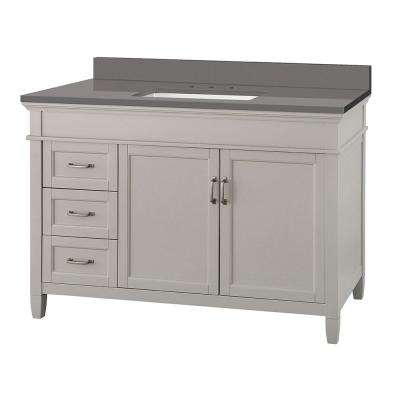 Ashburn 49 in. W x 22 in. D Vanity Cabinet in Grey with Engineered Marble Vanity Top in Slate Grey with White Basin