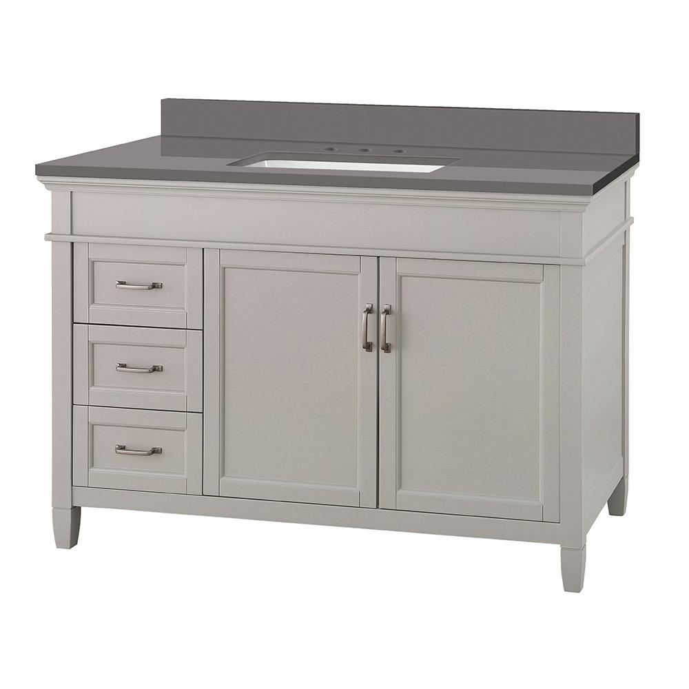 Home Decorators Collection Ashburn 49 in. W x 22 in. D Vanity Cabinet in Grey with Engineered Marble Vanity Top in Slate Grey with White Basin was $1149.0 now $804.3 (30.0% off)