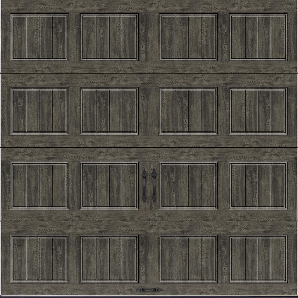Clopay Gallery Collection 8 ft  x 8 ft  18 4 R-Value Intellicore Insulated  Solid Ultra-Grain Slate Garage Door