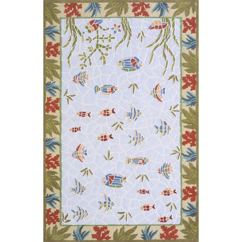 Momeni Mosaic Fish Light Blue 5 ft. x 8 ft. Area Rug