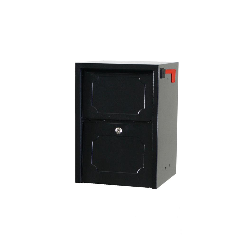 DVault Weekend Away Vault Black PostColumn Mount Secure Mailbox Column Mount Mailbox36