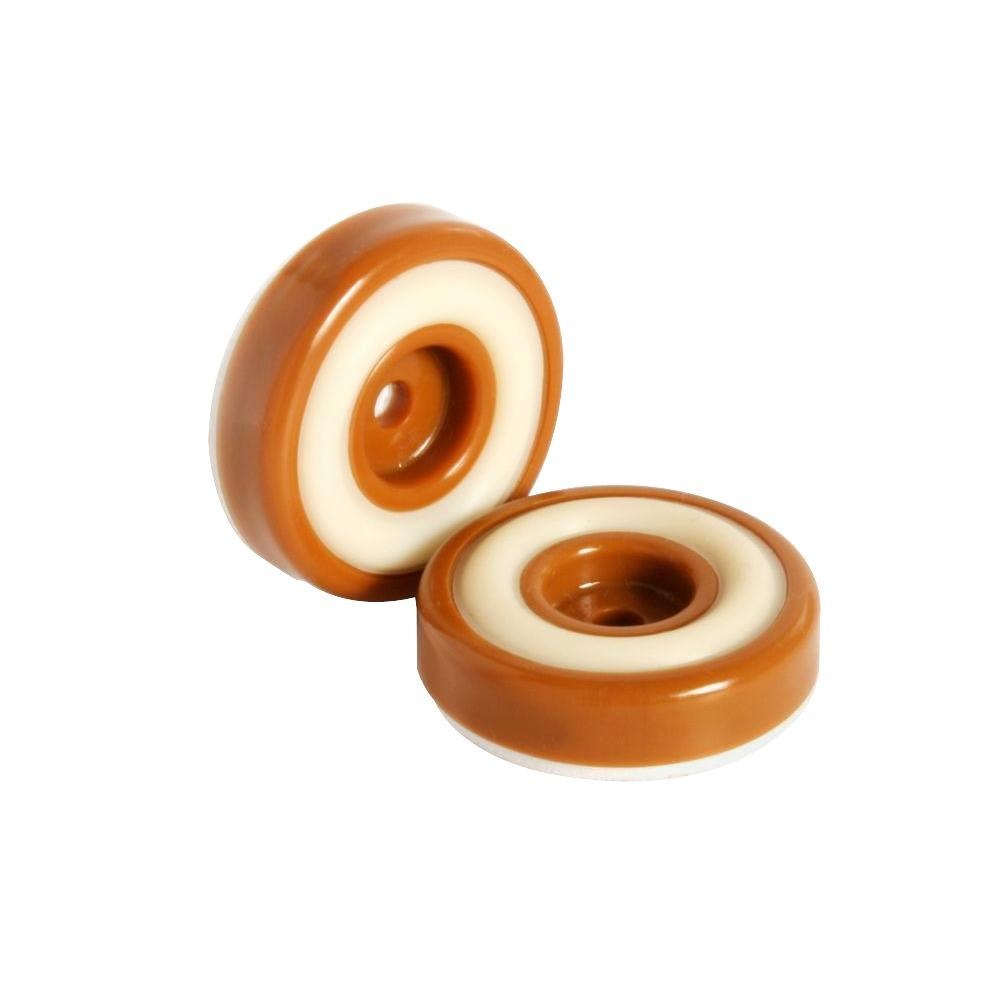 Round Caramel Brown Furniture Feet Floor Protectors With Rubber Grip Set Of 8