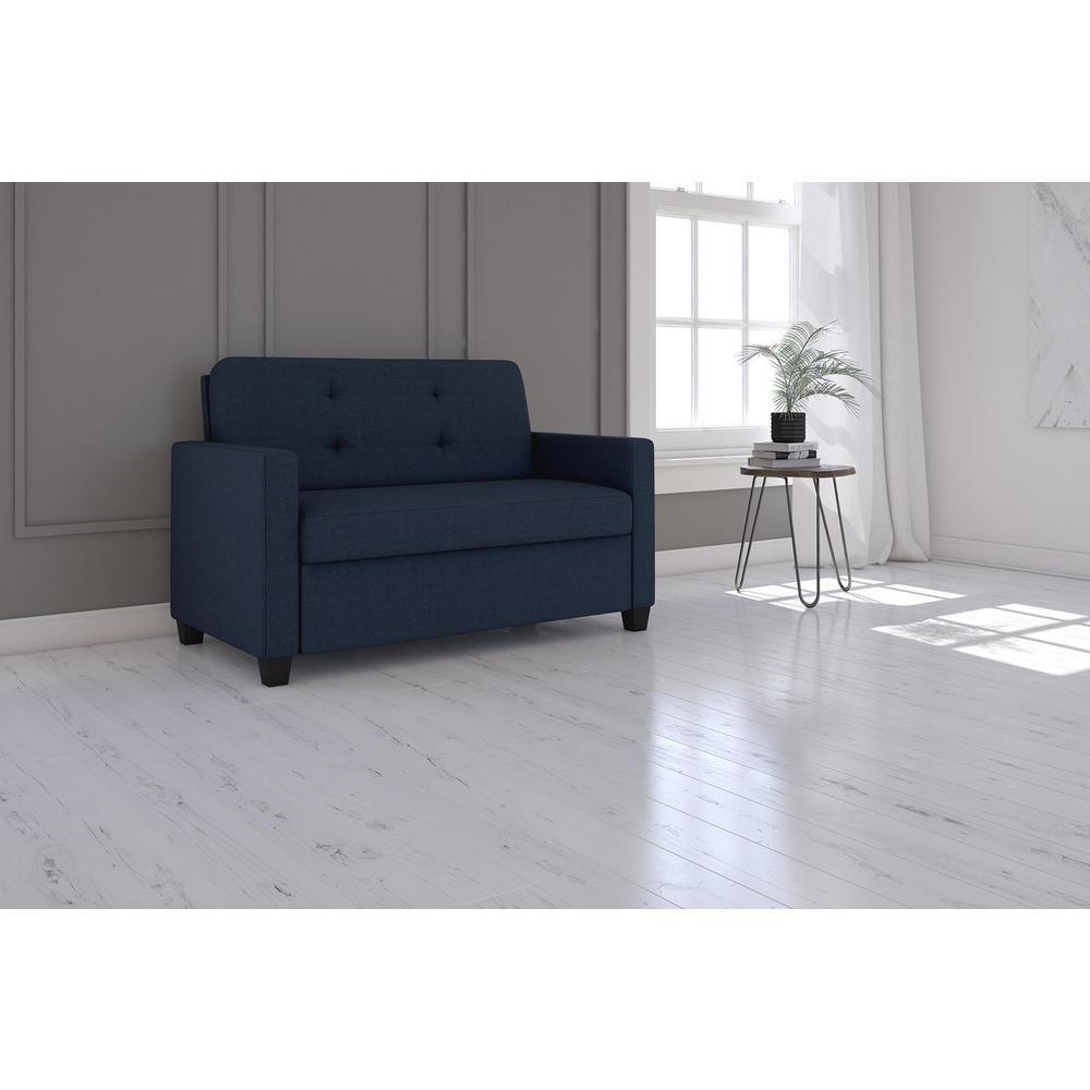 - Signature Sleep Donna Twin Size Blue Linen Sleeper Sofa-DE57361