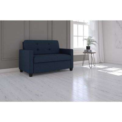 Devon 54 in. Blue Linen 2-Seater Loveseat with Square Arms
