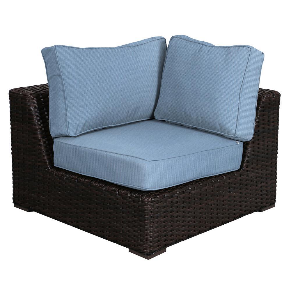 Envelor Santa Monica Patio Wicker Corner Outdoor Sectional Chair with  Sunbrella Air Blue Cushion