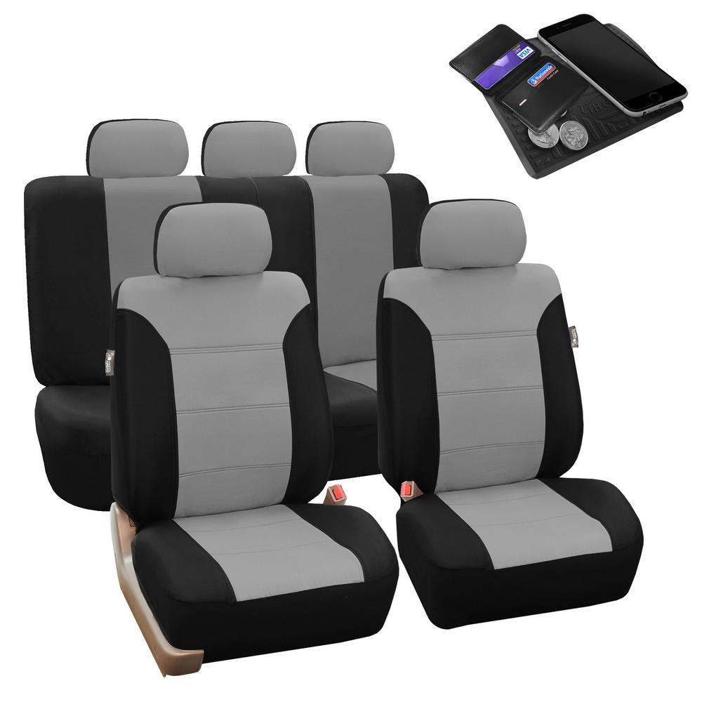 FH Group Polyester 47 in. x 23 in. x 1 in. Classic Khaki Full Set Car Seat Covers