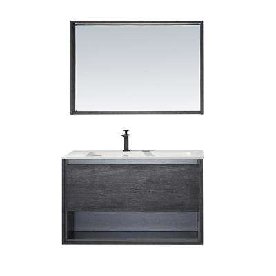 Perma 40 in. W x 21 in. D Bath Vanity in Elegant Grey with Vanity Top in White with White Acrylic Basin and Mirror