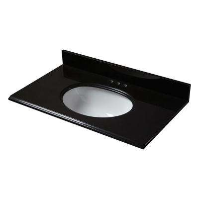 37 in. x 22 in. Granite Vanity Top in Midnight Black with White Bowl and 4 in. Faucet Spread