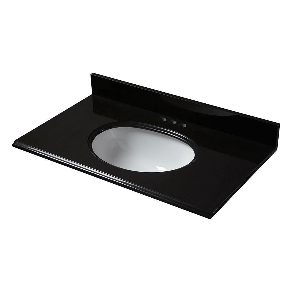 Pegasus 37 in. x 22 in. Granite Vanity Top in Midnight Black with White Bowl and 4 in. Faucet Spread