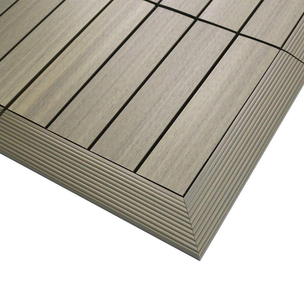 1/6 ft. x 1 ft. Quick Deck Composite Deck Tile Outside Corner Fascia in Roman Antique (2-Pieces/Box)