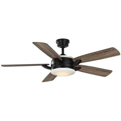 Colemont 52 in. Integrated LED Matte Black Ceiling Fan with Light and Remote Control