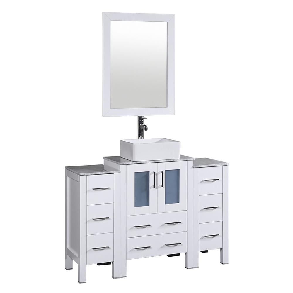 Bosconi 48 in. W Single Bath Vanity in White with Carrara Marble Vanity Top with White Basin and Mirror