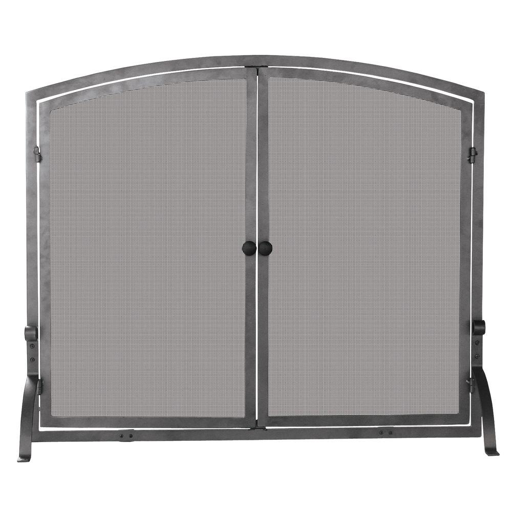 Uniflame Olde World Iron 44 In W Steel Frame Single Panel Fireplace Screen With Doors Support Legs And Heavy Mesh S 1142 The Home Depot