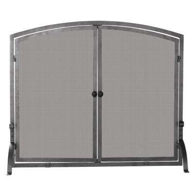 Olde World Iron Single-Panel Fireplace Screen with Doors, Large