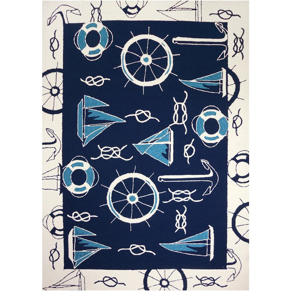 Blue And White Nautical Blue White 8 Ft X 10 Ft Indoor Outdoor