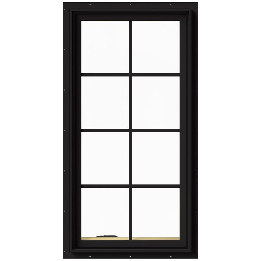 JELD-WEN 24 in. x 48 in. W-2500 Series Black Painted Clad Wood Left-Handed Casement Window with Colonial Grids/Grilles