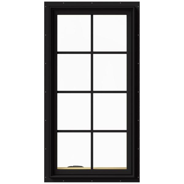 24 in. x 48 in. W-2500 Series Black Painted Clad Wood Left-Handed Casement Window with Colonial Grids/Grilles