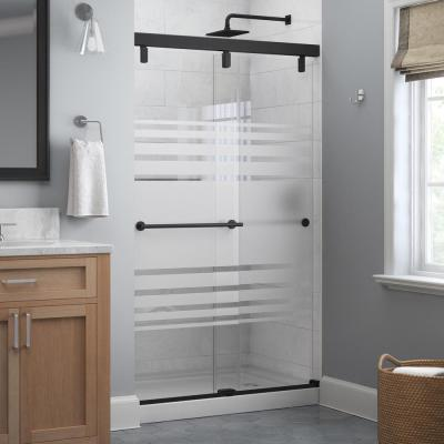 Lyndall 48 x 71-1/2 in. Frameless Mod Soft-Close Sliding Shower Door in Matte Black with 1/4 in. (6 mm) Transition Glass