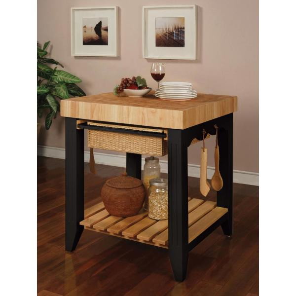 Powell Company Color Story Prep Table With Butcher Block Top 502 416 The Home Depot