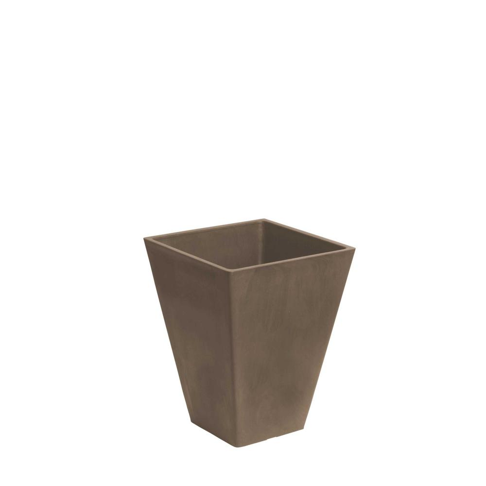 Algreen Valencia 10 in. x 13 in. Square Taupe Plastic Planter with Self-Watering Tray