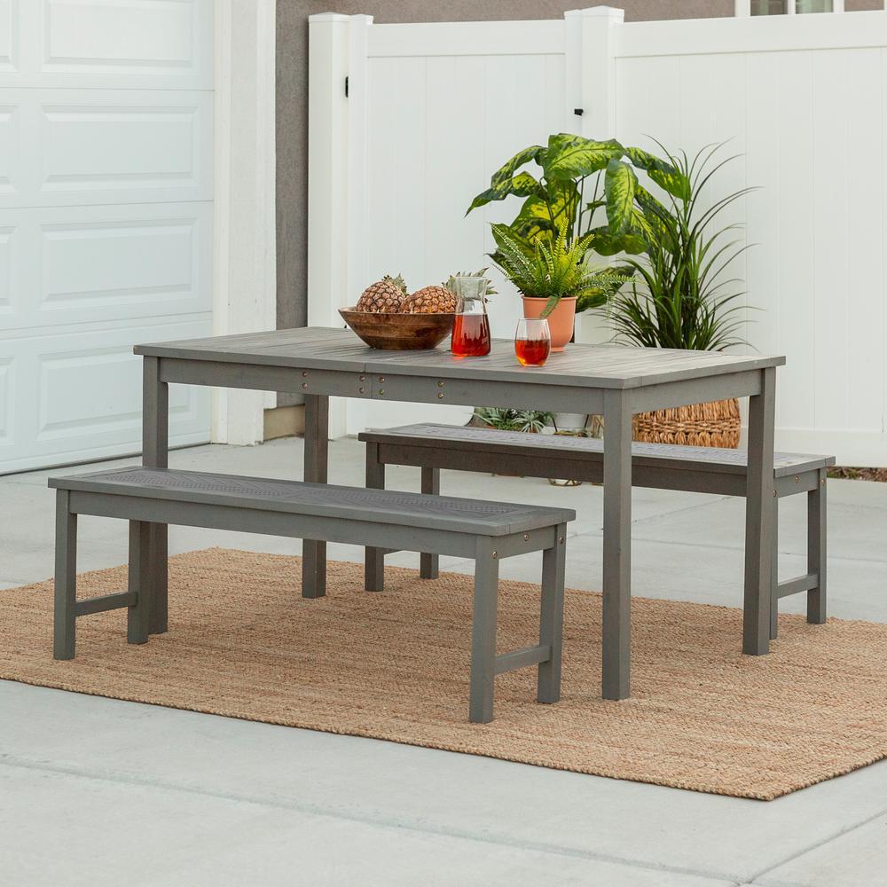 Chevron Grey Wash 3-Piece Wood Outdoor Patio Dining Set