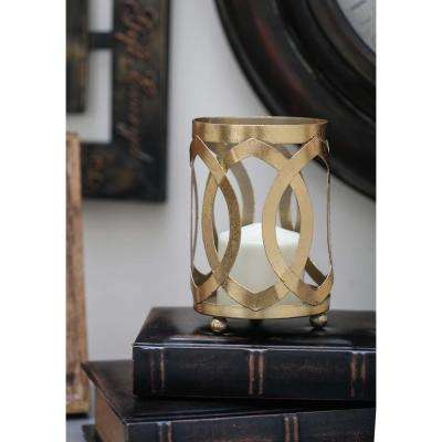 8 in. Gold Glass Mosaic Candle Lantern