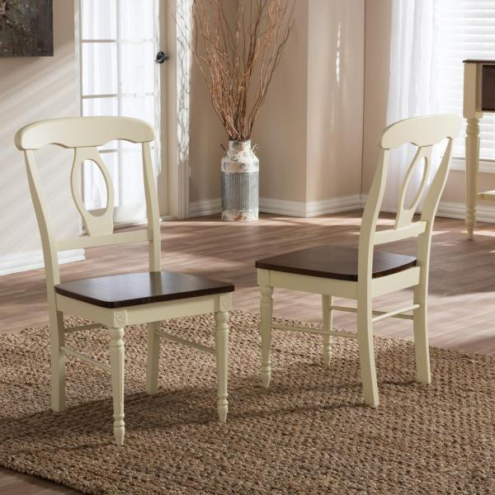 Baxton Studio Napoleon II Buttermilk and Medium Brown Wood Dining Chairs