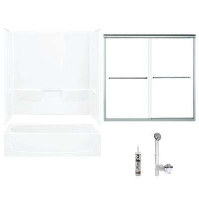 Performa 29 in. x 60 in. x 75.25 in. Bath and Shower Kit with Left-Hand Drain in White and Chrome