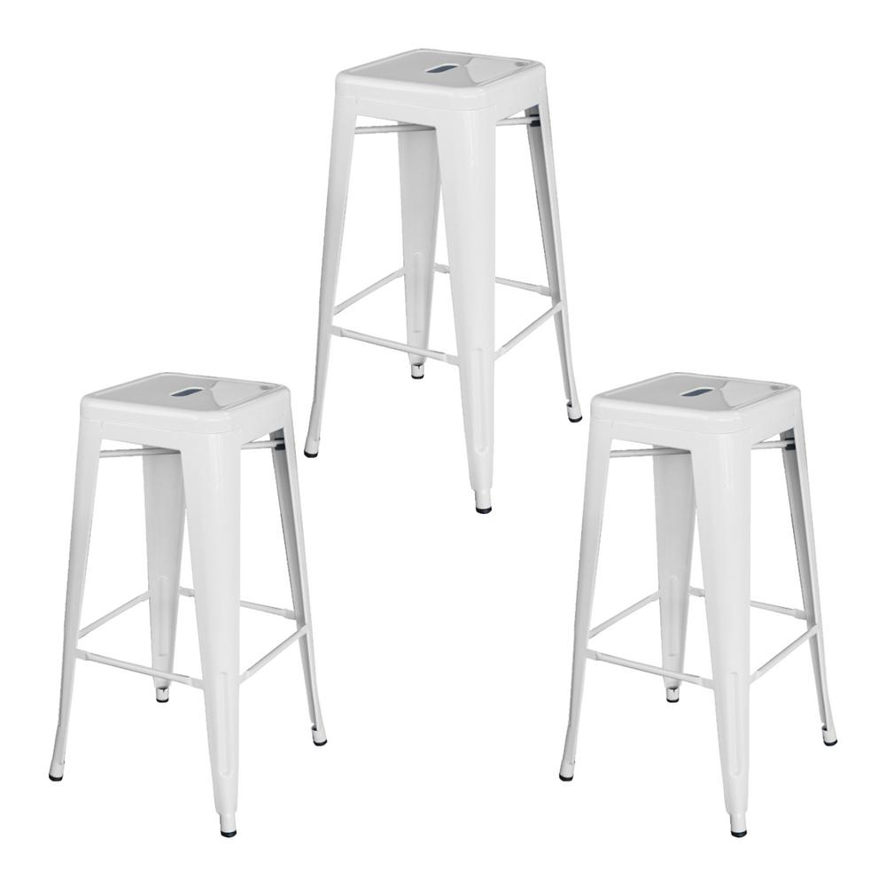 AmeriHome Loft Style 30 in.White Stackable Metal Bar Stool (Set of 3) was $149.0 now $102.11 (31.0% off)