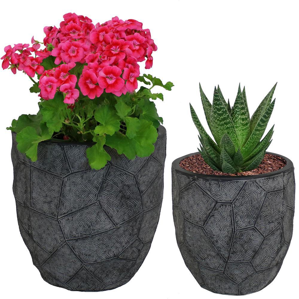 Sunnydaze Decor Set Homestead Fiber Clay Planter Flower Pot Durable Indoor Outdoor Use Dark Gray Carved Stone 2 Piece