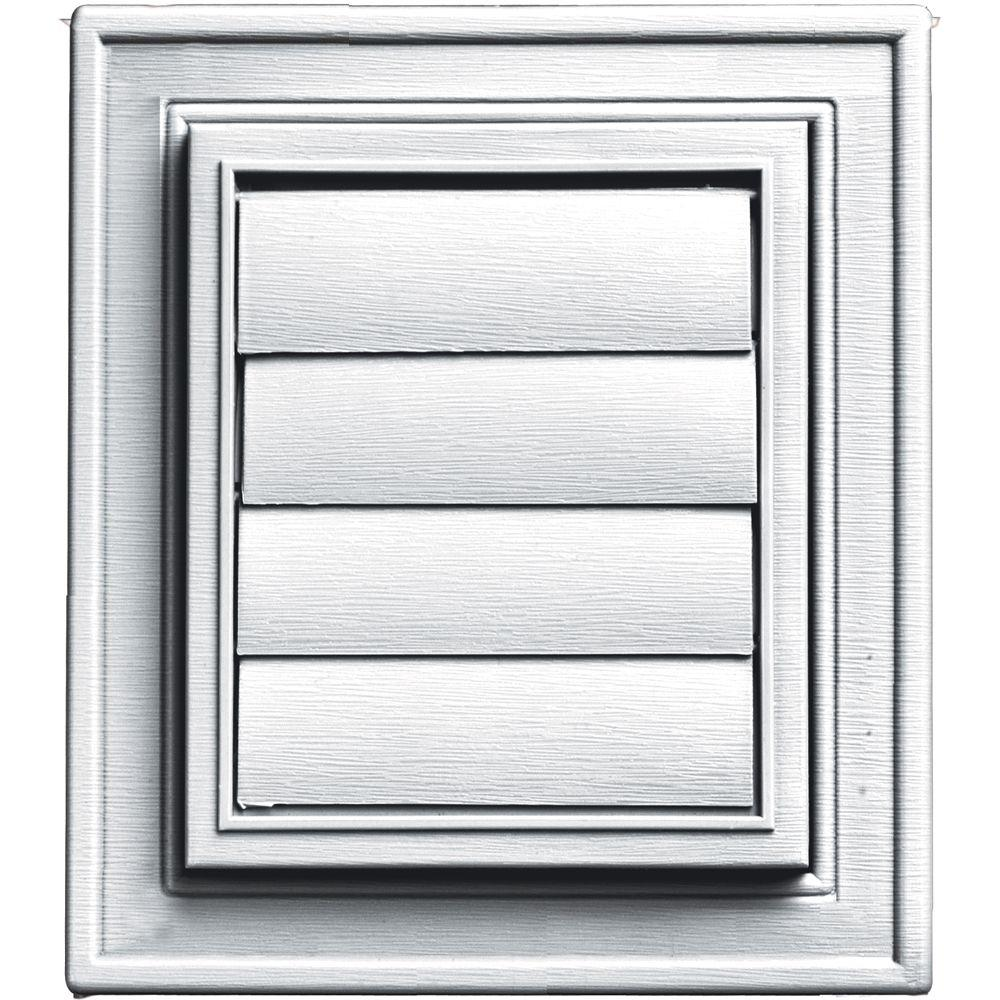 Builders Edge Square Exhaust Siding Vent 001 White