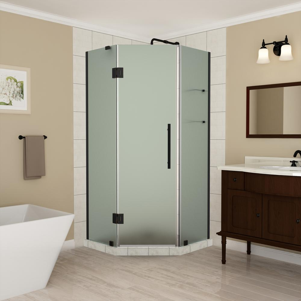 Aston 34 to 34.25 in. x 72 in. Frameless Hinged Neo-Angle Shower ...