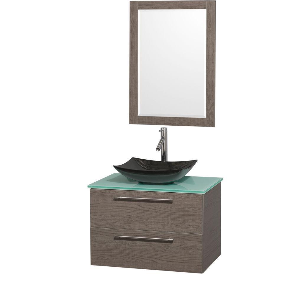 Amare 30 in. Vanity in Gray Oak with Glass Vanity Top in Green, Granite Sink and 24 in. Mirror