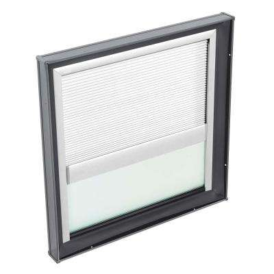 30-1/2 in. x 30-1/2 in. Fixed Curb Mount Skylight w/ Tempered Low-E3 Glass & White Manual Room Darkening Blind