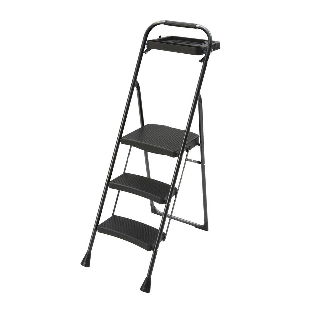 Gorilla Ladders Pro Series 3-Step Steel Project Stool Ladder with 225 lb. Load Capacity