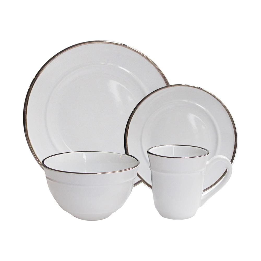 16-Piece Solid White Stoneware Dinnerware Set (Service for 4)