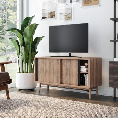 Liam 44 in. Oak and Black Wood TV Stand Fits TVs Up to 40 in. with Storage Doors