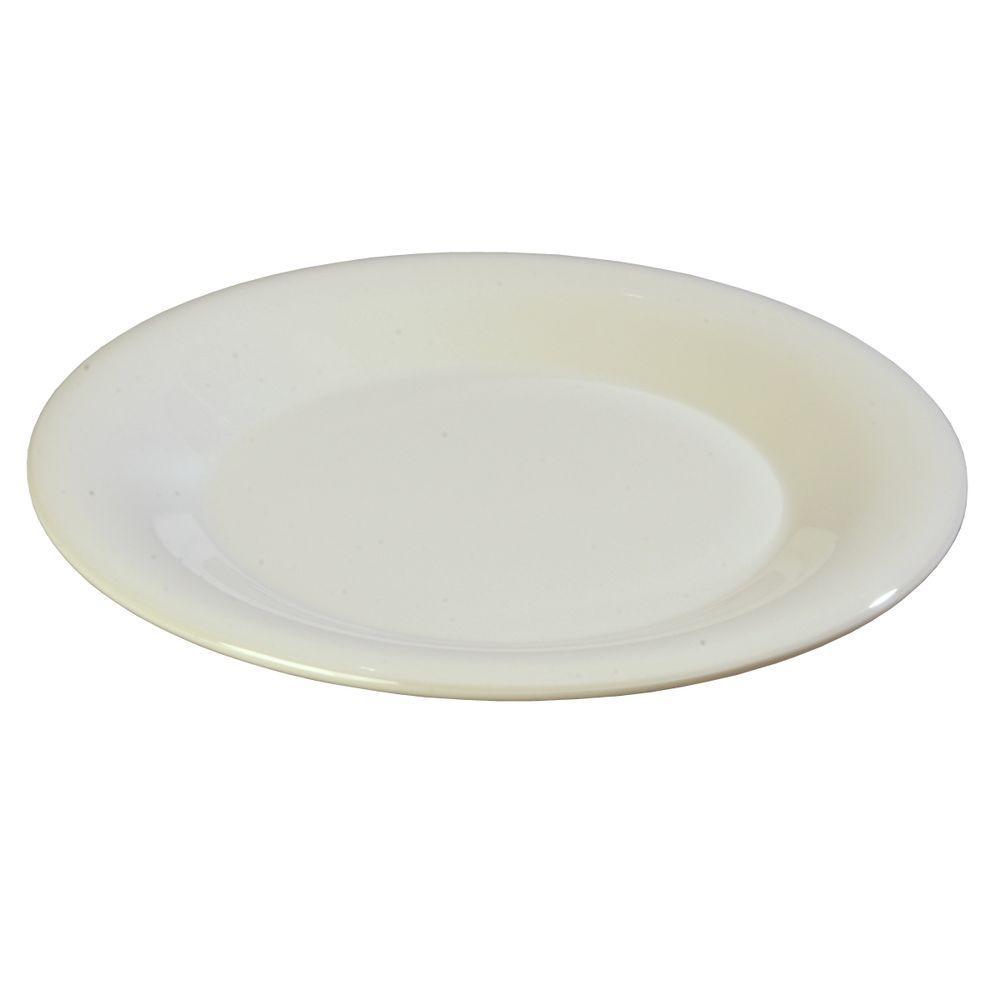 9 in. Diameter Melamine Wide Rim Dinner Plate in Bone (Case