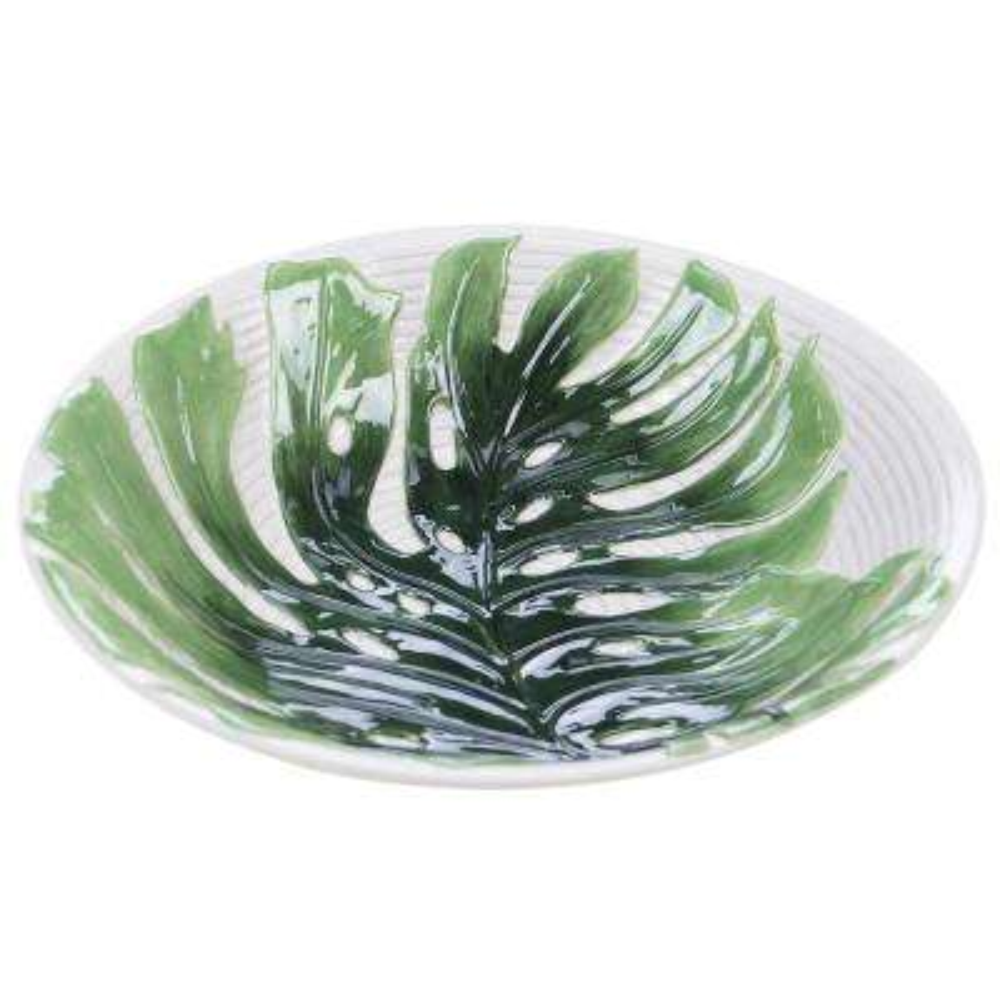 Palm Leaves 96 oz. 3-D Embossed Serving Bowl