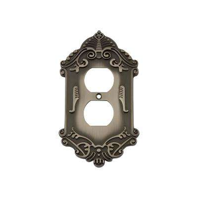 Victorian Switch Plate With Outlet In Antique Pewter