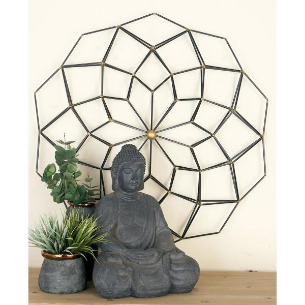 Cosmoliving By Cosmopolitan Modern Black And Gold Iron Geometric Wall Decor