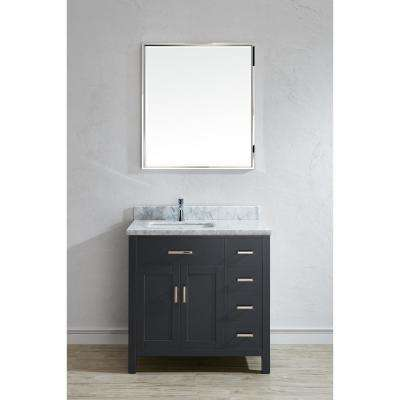 Kalize II 36 in. W x 22 in. D Vanity in Pepper Gray with Marble Vanity Top in Gray with White Basin